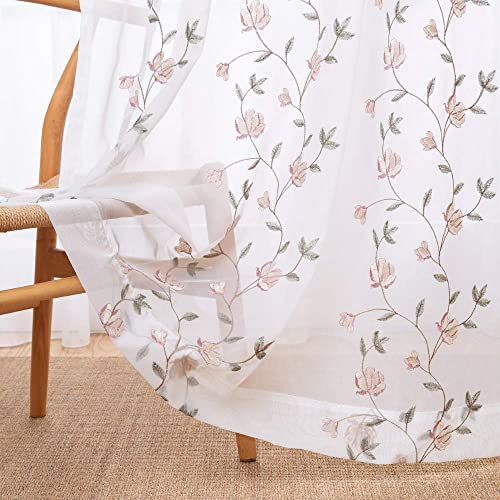 Floral Embroidered Sheer Curtains for Bedroom Drapes Semi Sheer Curtains for Living Room Embroidery Curtain Panels 84 inches Long Rod Pocket 2 Pieces Pink