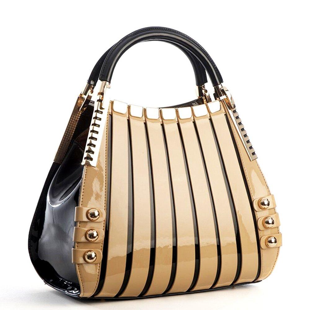 Bravo Beverly Hills Luxury HANDBAG~Irina Signature Series~Cream & Black Leather Handbag~Size Medium by Bravo Handbags Beverly Hills Collection (Image #2)