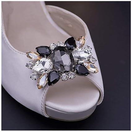 e881c6c36538f Douqu Fashion Rhinestones Crystal Shoe Clips Wedding Party Shoe Buckle  Accessories Shoes Decoration for Women-2Pcs (Black)