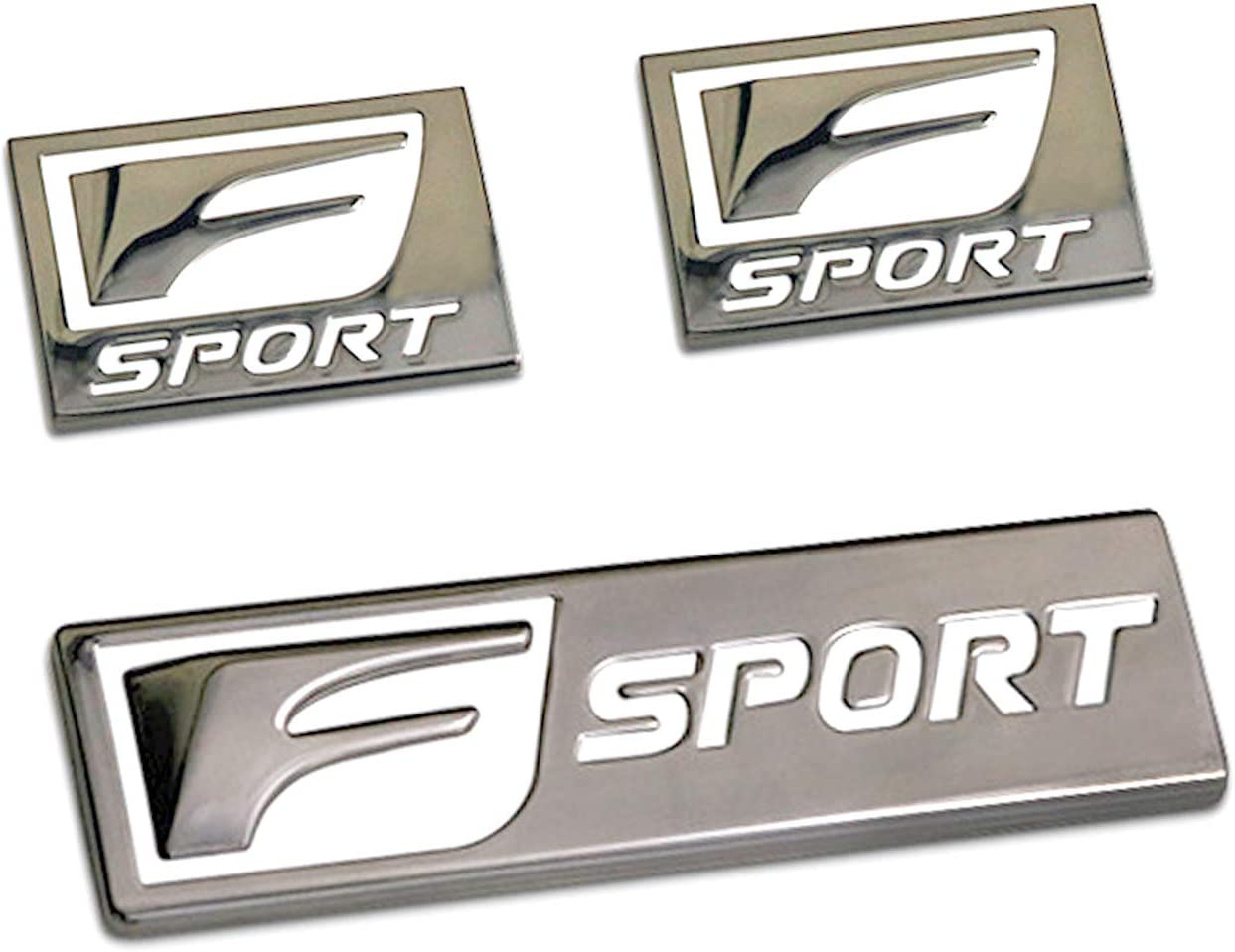 HUAYATIAN 3Pcs F-Sport Emblem Metal Logo Badge Side Fender Marker Trunk Lid for Lexus RXCT GS ES IS NX F-SPORT Car Sticker Kit F-Lexus