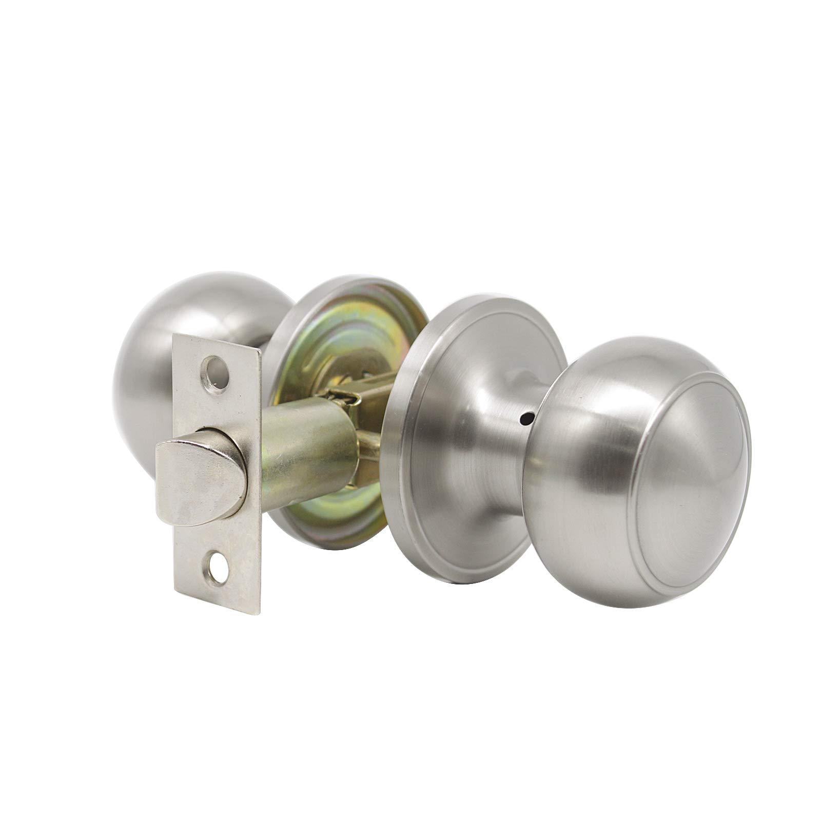 8 Pack Probrico Interior Passage Keyless Door Knobs Door Lock Handle Handleset Lockset Without Key Doorknobs Satin Nickel for Hall/Closet-Door Knob 609 by Probrico (Image #2)