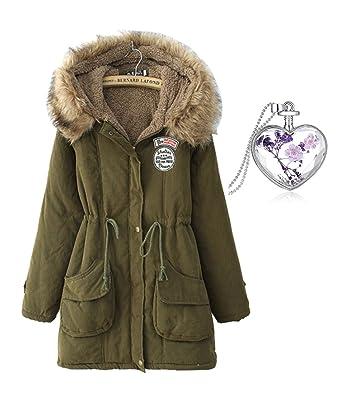 Leona-de Wintermantel Damen Kragen Kapuzenjacke Cashmere lose Verdickung  Jacke Warme wollmantel plus Größe  Amazon.de  Bekleidung f65ba22b10
