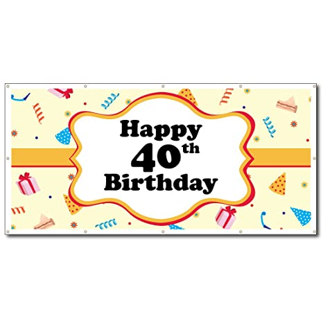 VictoryStore Happy Birthday Banners 40th Party Hats Vinyl Banner Size 3