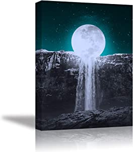 Tku's Moon Wall Decor Waterfall Wall Art Teal Green Canvas Oil Painting Black and White Picture Framed Print Home Decoration for Bedroom (Waterproof, Ready to Hang)