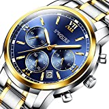 GuTe Men Quartz Watch,Gold Plated Two Tone Stainless Steel Chronograph Quartz Date Watch