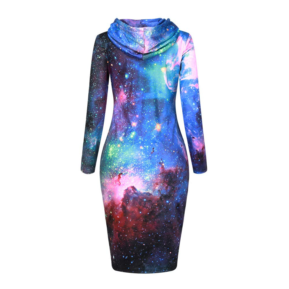 FACOCO Star Print Long Sweater Womens Pullover Long Sleeve Hoodie Dress
