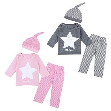 f60cd8b512c04 Coolbabe 0-24 Mois Bébé Fille Garçon Pyjamas 3 PCS Ensemble de Vêtement   T