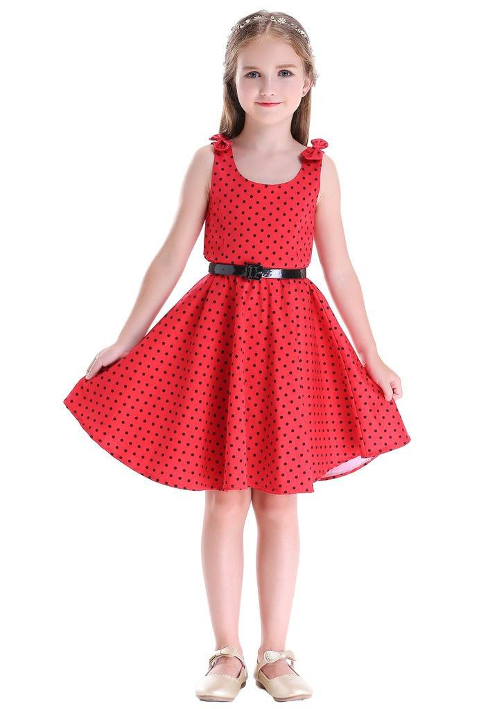 Bow Dream Girls Dresses Retro 1950s Vintage Swing Party Dresses Dots Red 8