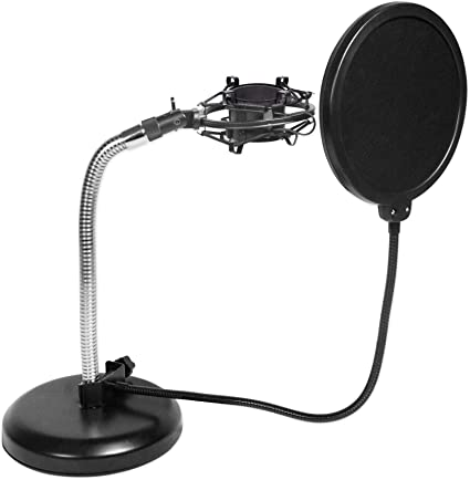 Rockville Podcast Recording Studio Desktop Microphone Mic Stand+Boom+Shockmount