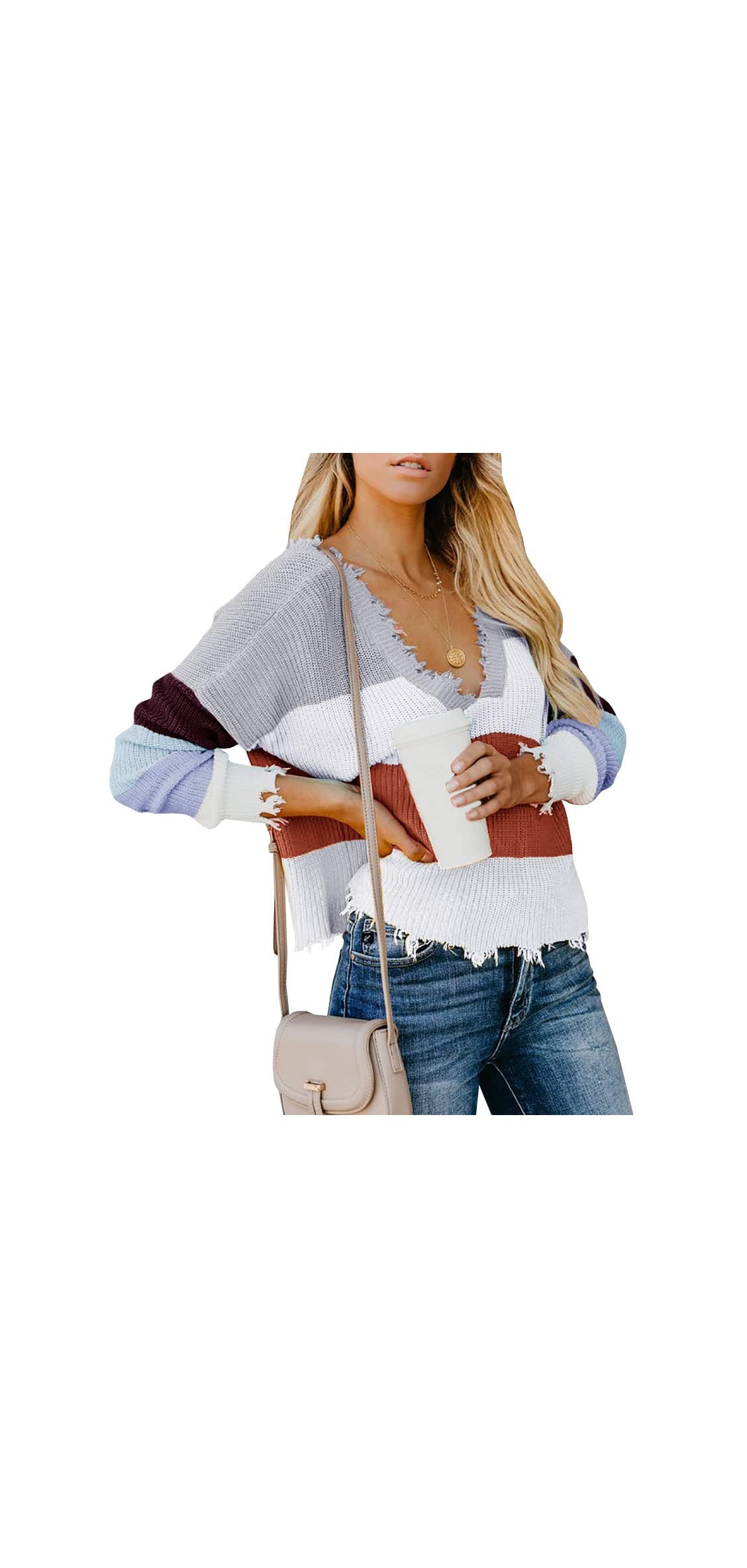 Womens V Neck Rainbow Striped Sweater Color Block