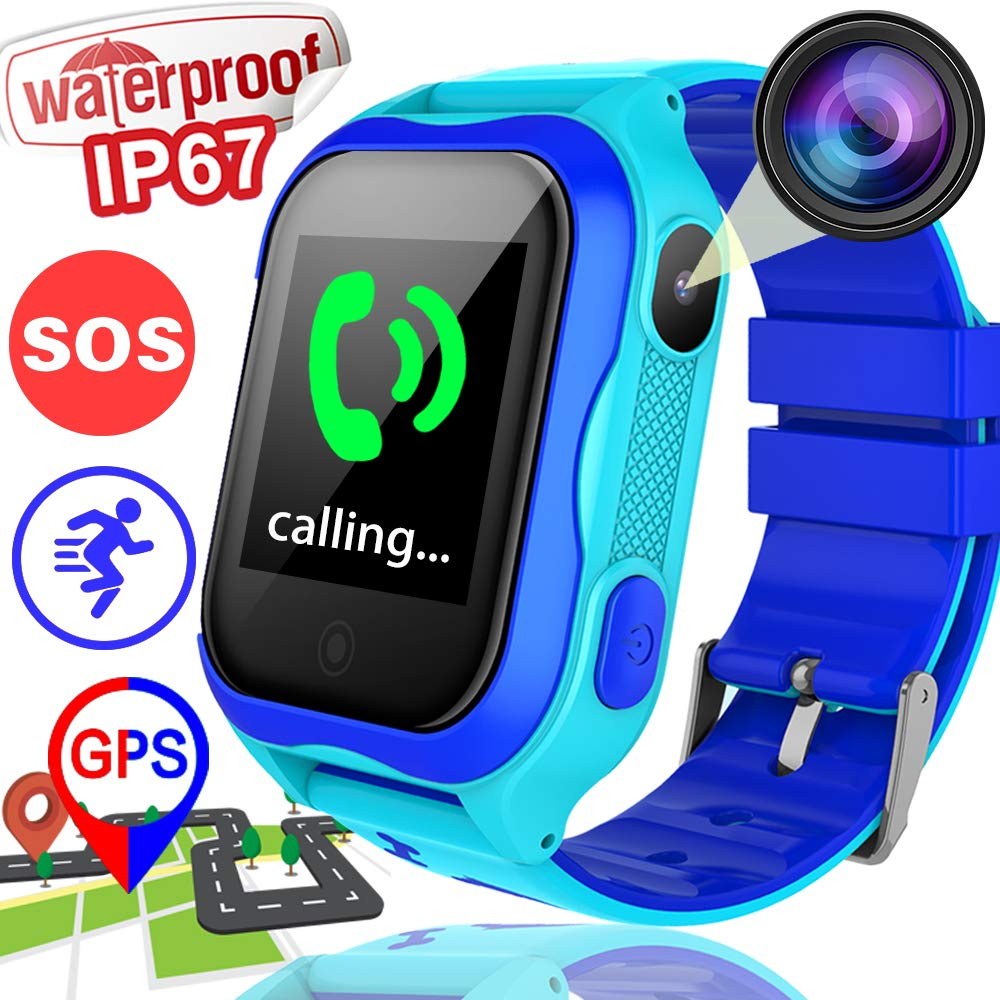 Kids Smart Watch Phone GPS Tracker for 3-14 Girls Boys with IP67 Waterproof Voice Chat Camera SIM Call Touchscreen Anti-Lost SOS Flashlight Bracelet Game Watch for School Travel Outdoor Holiday Blue