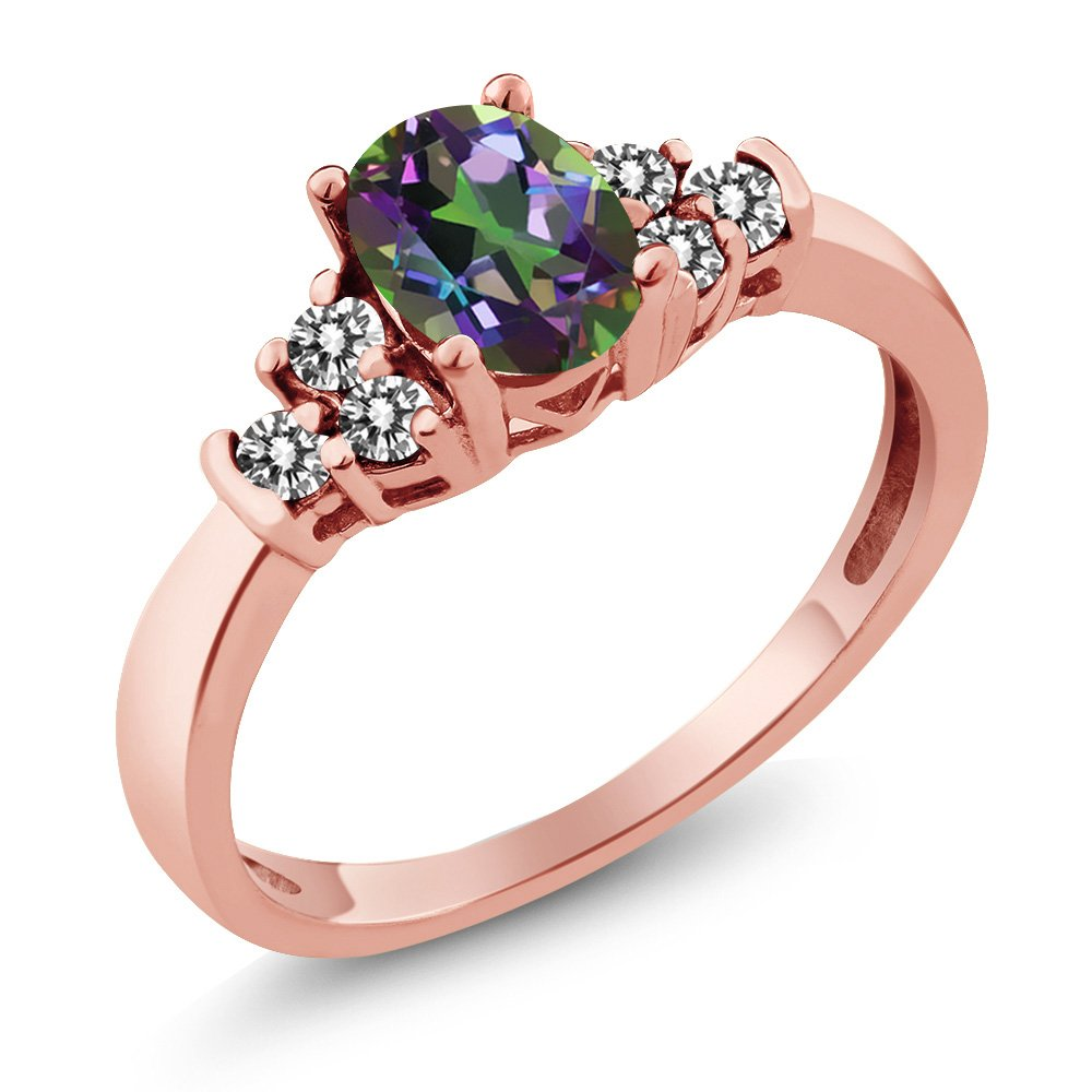 Gem Stone King 0.75 Ct Oval Green Mystic Topaz White Diamond 925 Rose Gold Plated Silver Ring (Size 6)