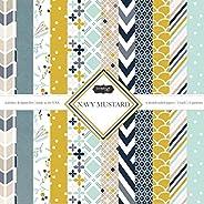 Scrapbook Kit para álbum de Recortes con diseño aduanero, Azul Marino y Mostaza