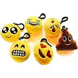 Nuoxinus Emoji Keychain Mini Cute Plush Toys Handbag Key Chains, Bags Backpack Accessories for Women Men Teens Girls Boys Kids (Set of 6, 2.4 inch)