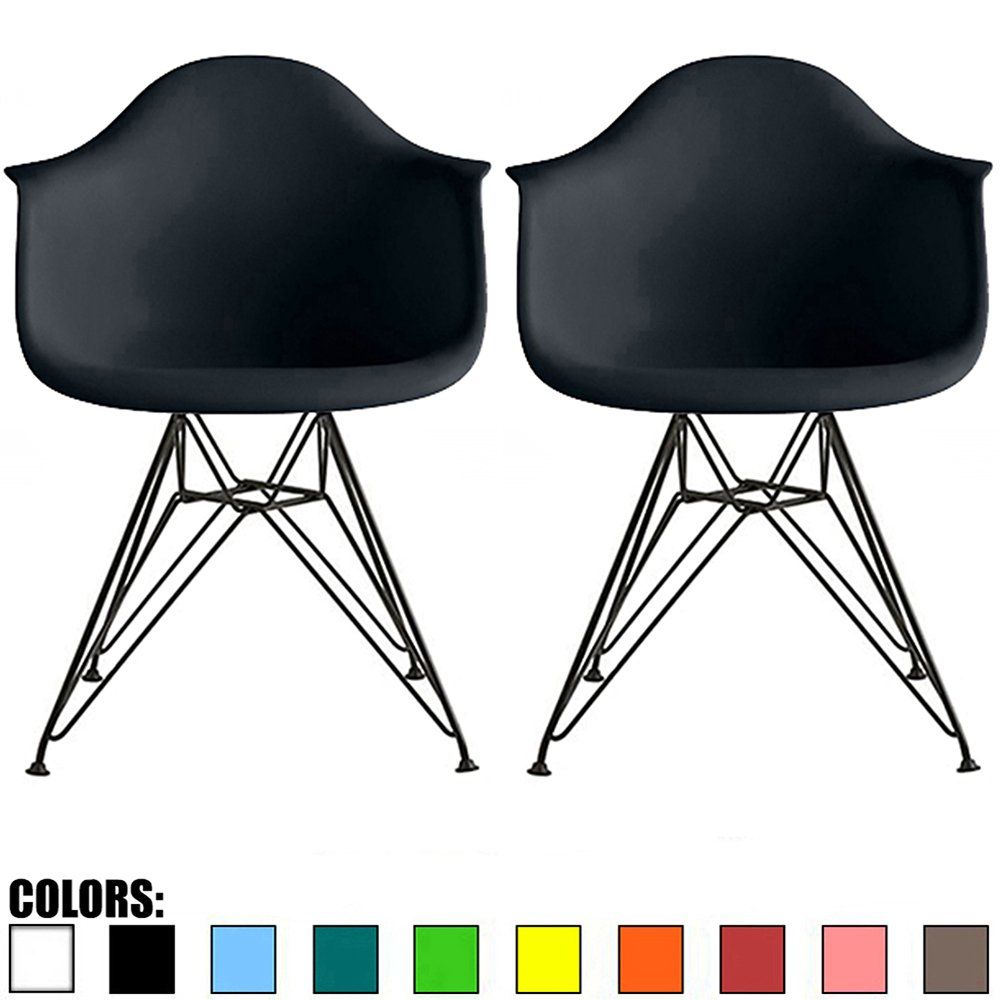 2xhome Set of 2 Black Plastic Armchair Natural Wood Legs Eiffel Dining Room Chair - Lounge Chair Arm Chair Arms Chairs Seats Wooden Wood Leg Wire Leg (Black - Black Wire Legs)