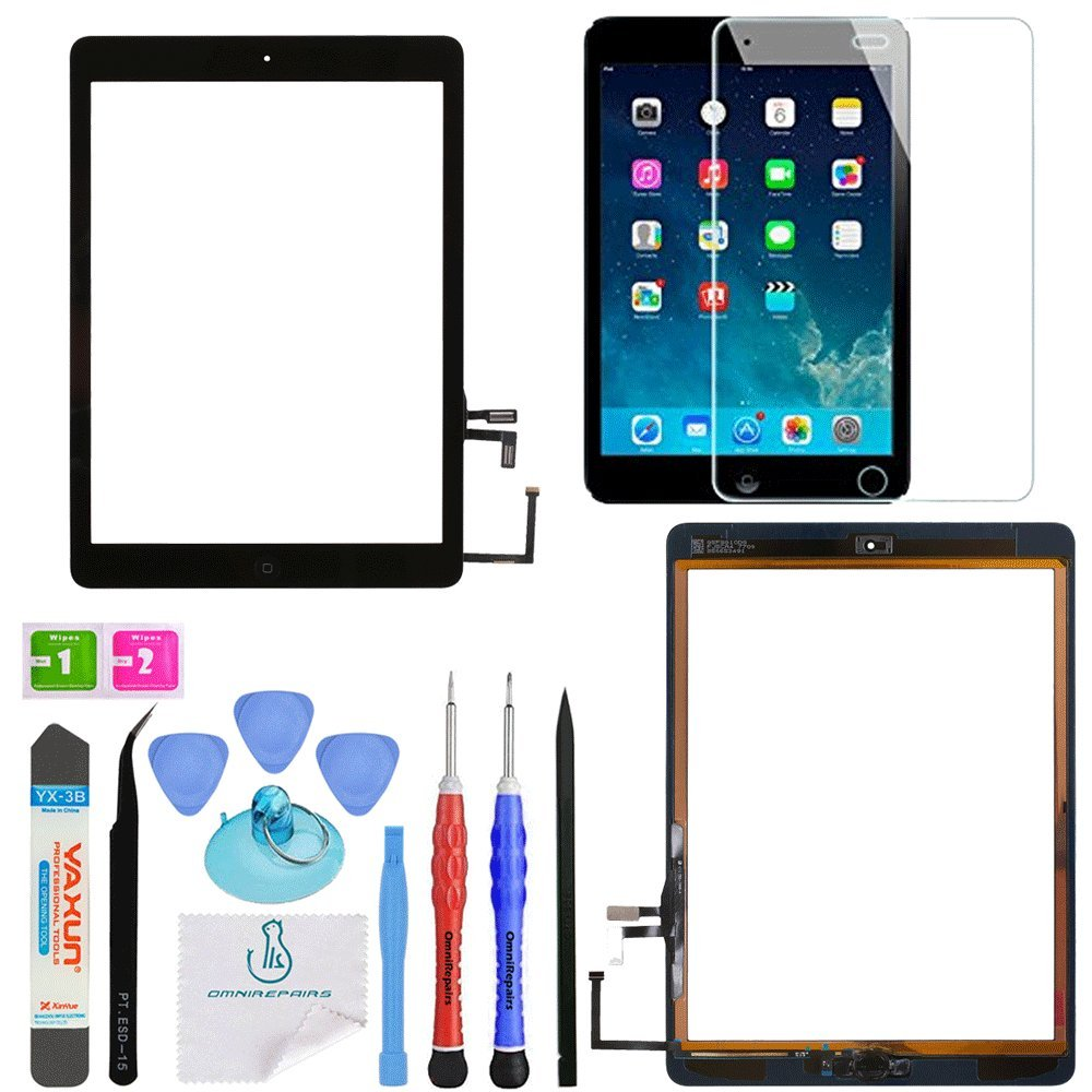 OmniRepairs Glass Touch Screen Digitizer Assembly OEM Replacement with Home Button Compatible for iPad Air 1st Generation with Adhesive Tape, Screen Protector and Repair Toolkit (Black) by OmniRepairs