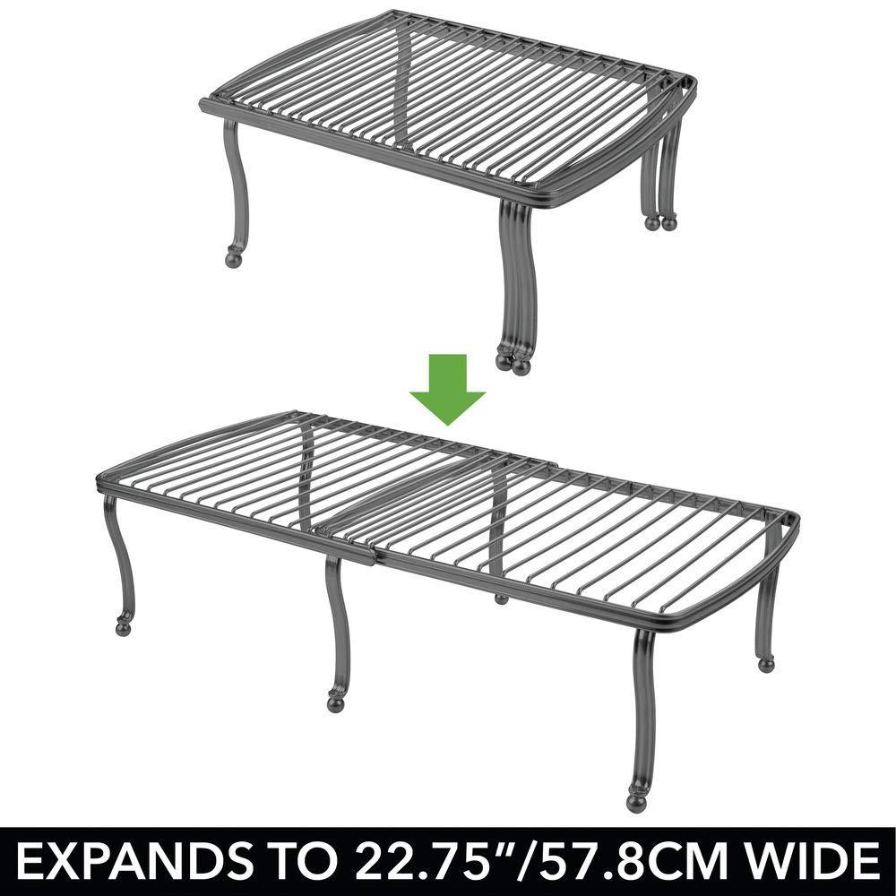 Accessorio antiscivolo estraibile argento Pratico porta piatti e porta stoviglie in metallo con superficie dappoggio mDesign Set da 2 Scaffali cucina regolabili per la credenza