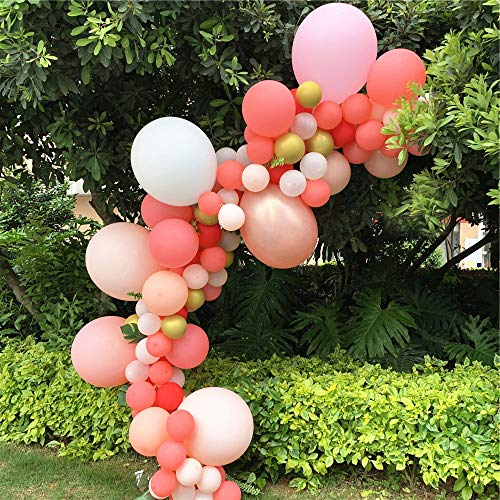 Pink Rose Gold Balloons Garland Arch Kit 126pcs White Peach Clear Balloons Set for Birthday Baby Girl Shower Bridal Shower
