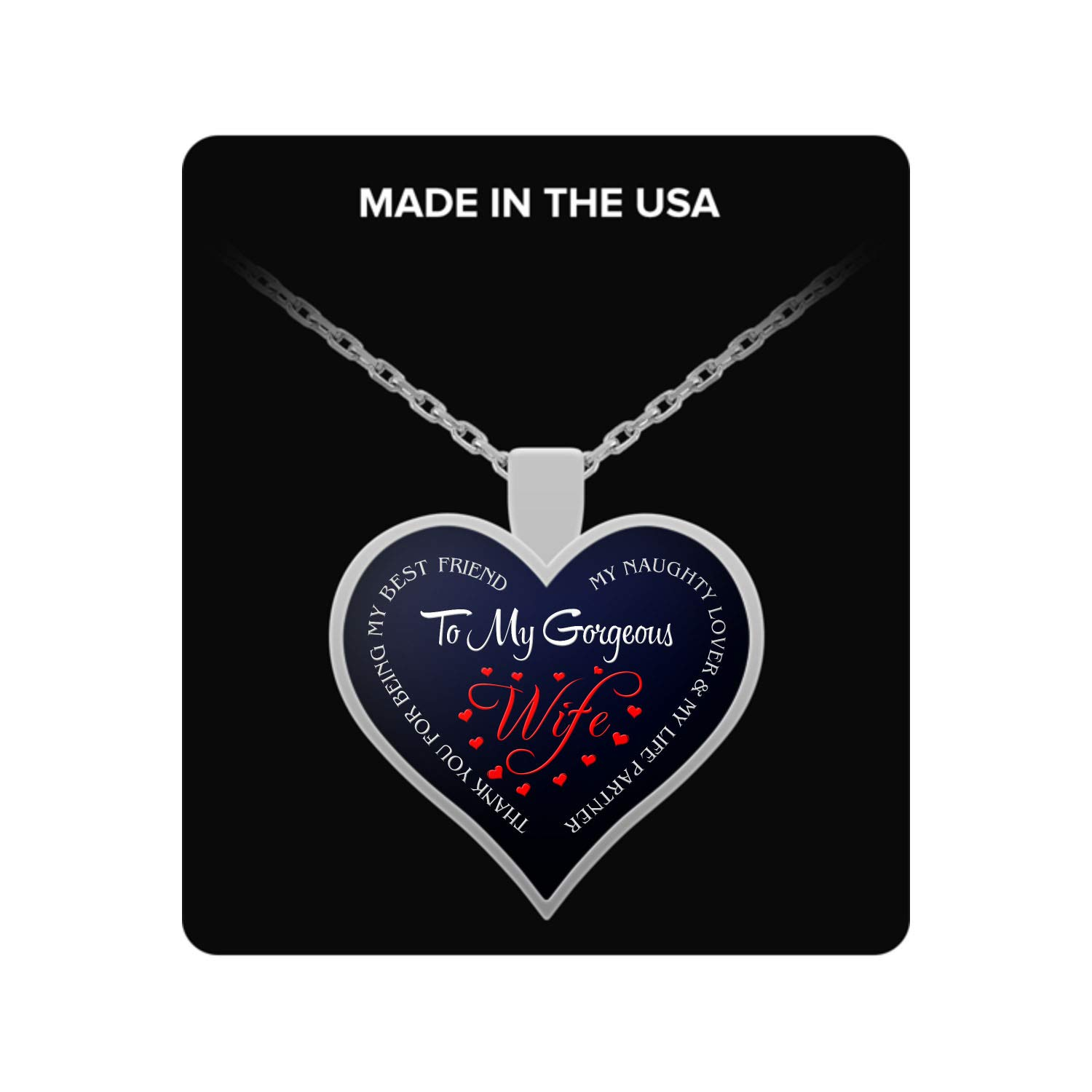 Wife My Naughty Lover /& My Life Partner Best Wife Halloween Thank You for Being My Best Friend Neckalce Dominix Thank You My Gorgeous Wife Heart Necklace