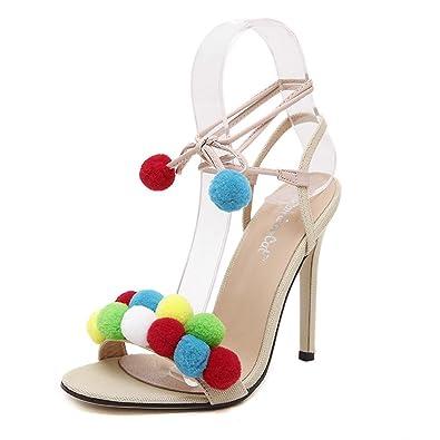 Damen Peep Toe Pumps Stiletto Sling Sandale mit Riemchen Mit Regenbogenball