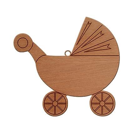 Carrito de bebé, diseño de madera, figura decorativa para árbol de Navidad para colgar