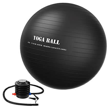 Homitt 65cm Exercise Yoga Ball, Anti Burst Stability Ball Non-Slip Yoga Ball Home,Office Gym-Black