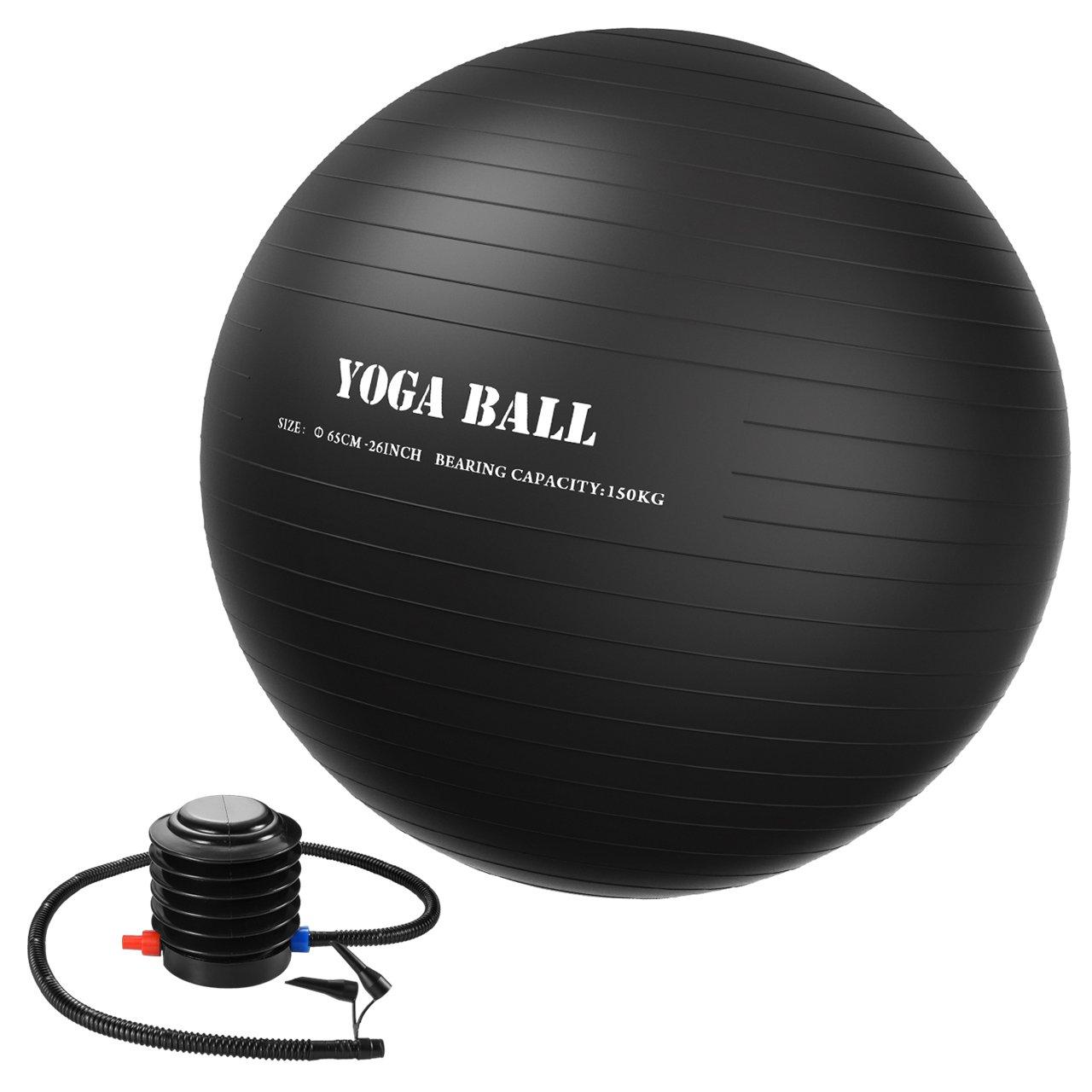 Homitt 65cm Exercise Yoga Ball, Anti Burst Stability Ball Non-Slip Yoga Ball Home,Office Gym-Black