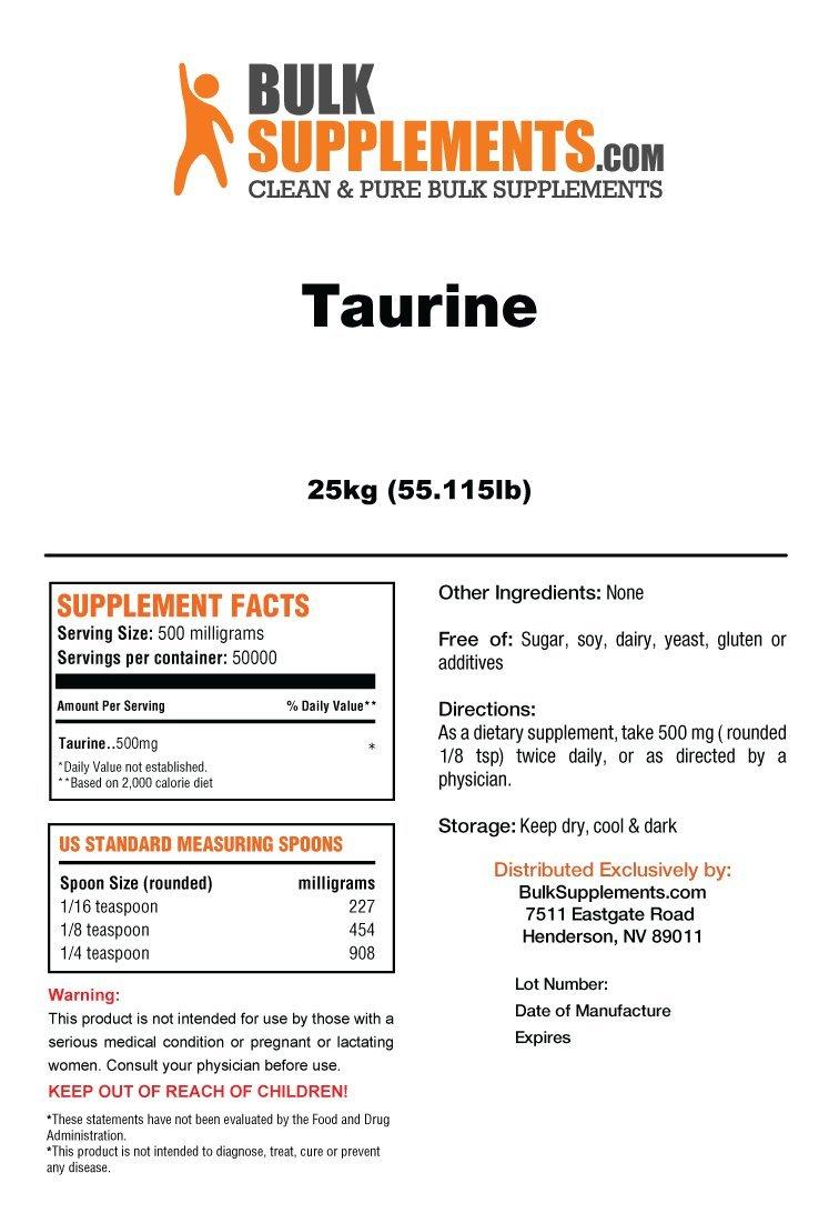 bulksupplements taurina en polvo puro: Amazon.es: Salud y cuidado personal