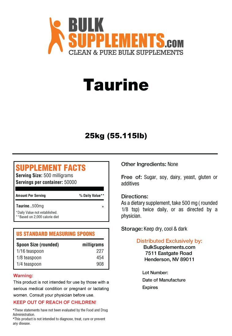 BulkSupplements Taurine Powder (25 kilograms)