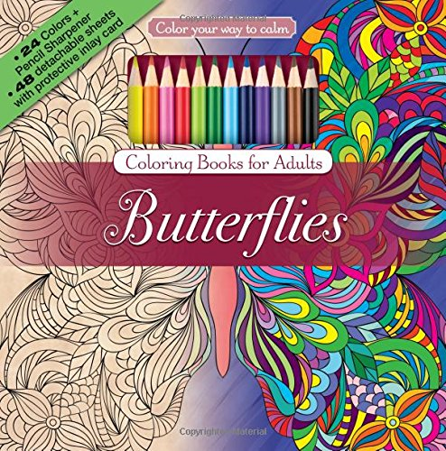 - Amazon.com: Butterflies Adult Coloring Book Set With 24 Colored Pencils And  Pencil Sharpener Included: Color Your Way To Calm (9781988137605):  Newbourne Media: Books