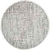 Safavieh Adirondack Collection ADR103B Silver and Ivory Modern Distressed Round Area Rug (4′ in Diameter) Review