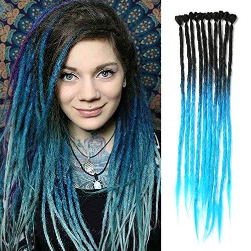 DAIRESS 10 Stands 24 Inches Handmade Dreadlocks Extensions Crochet Braids Reggae Hair Hip-Hop Style Faux Locs Crochet Hair For Rock&Roll Hippie Braiding Hair (Black Ombre Blue)