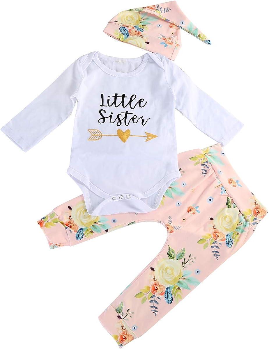 Stirnband oder Hut Kleidung Set Baby M/ädchen gro/ße kleine Schwester passende Outfits Floral Shirt Tops Pants