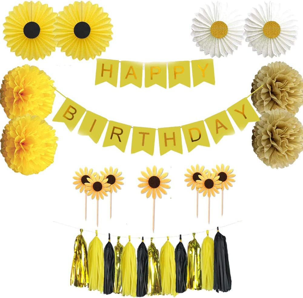 Sunflower Birthday Party Decorations Supplies Kit Tissue Paper Fans Tassel Pom Poms Sunflower Theme Yellow Sunflowers Cupcake Toppers Yellow Sunflowers Design Yellow Happy Birthday Banner