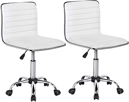 Yaheetech Adjustable Task Chair PU Leather Low Back Ribbed Armless Swivel Desk Chair Office Chair Wheels White