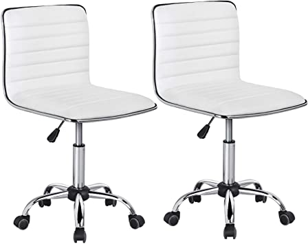 Yaheetech 2 x Chaise de Bureau Simili Cuir Hauteur Réglable