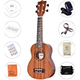 ADM Student Mahogany Soprano Ukulele Starter Pack, 21 Inch Beginner Kit with CD Lesson, Carry Bag, Tuner and Strap, Brown