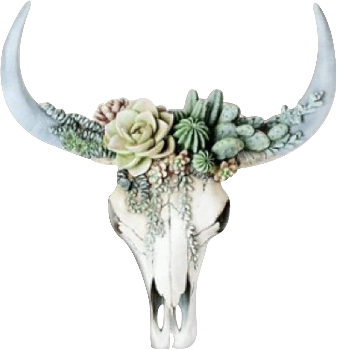 Cow Skull Decoration, Resin Wall Carving Simulation 3D Cow Head Wall Hanging Crafts Home Decor, Best Gift for Mother's Day (Green)
