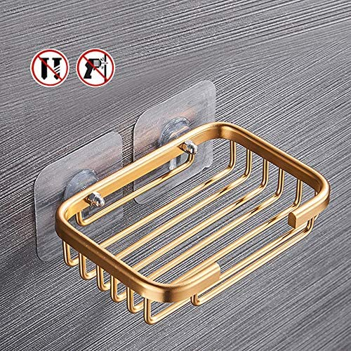 Adhesive Soap Dish Sponge Holder for Bathroom, Kitchen Sink, No Drilling Wall Mounted Soap Saver Sponge Holder, Aluminum Soap Holder(Gold)
