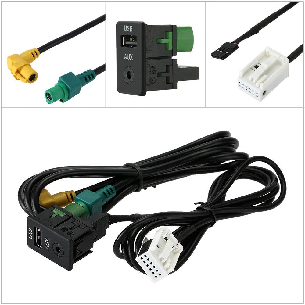 KKmoon USB AUX Audio Cable Switch Plug for VW Passat B6 B7 CC Touran POLO Facelift RCD510+//310+