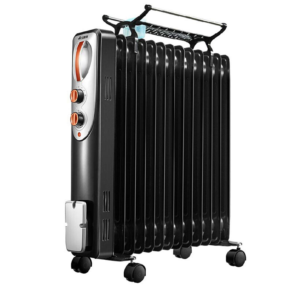 YONGMEI オイルティンヒーター家庭用オイルオイル、電気暖房、電気暖房、オフィス乾燥、大面積暖房 (色 : 黒) B07L7N7W7T 黒