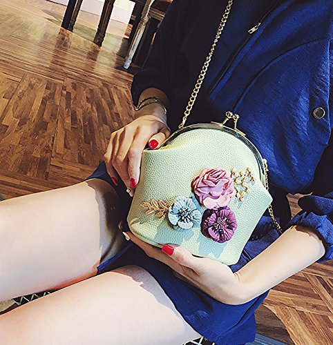 Bags Clutch Bucket Green Handbags Flower Lock Flower Kiss Women Bags Linght Shoulder Flower Purse Crossbody Qzunique pA5qnwvSI5