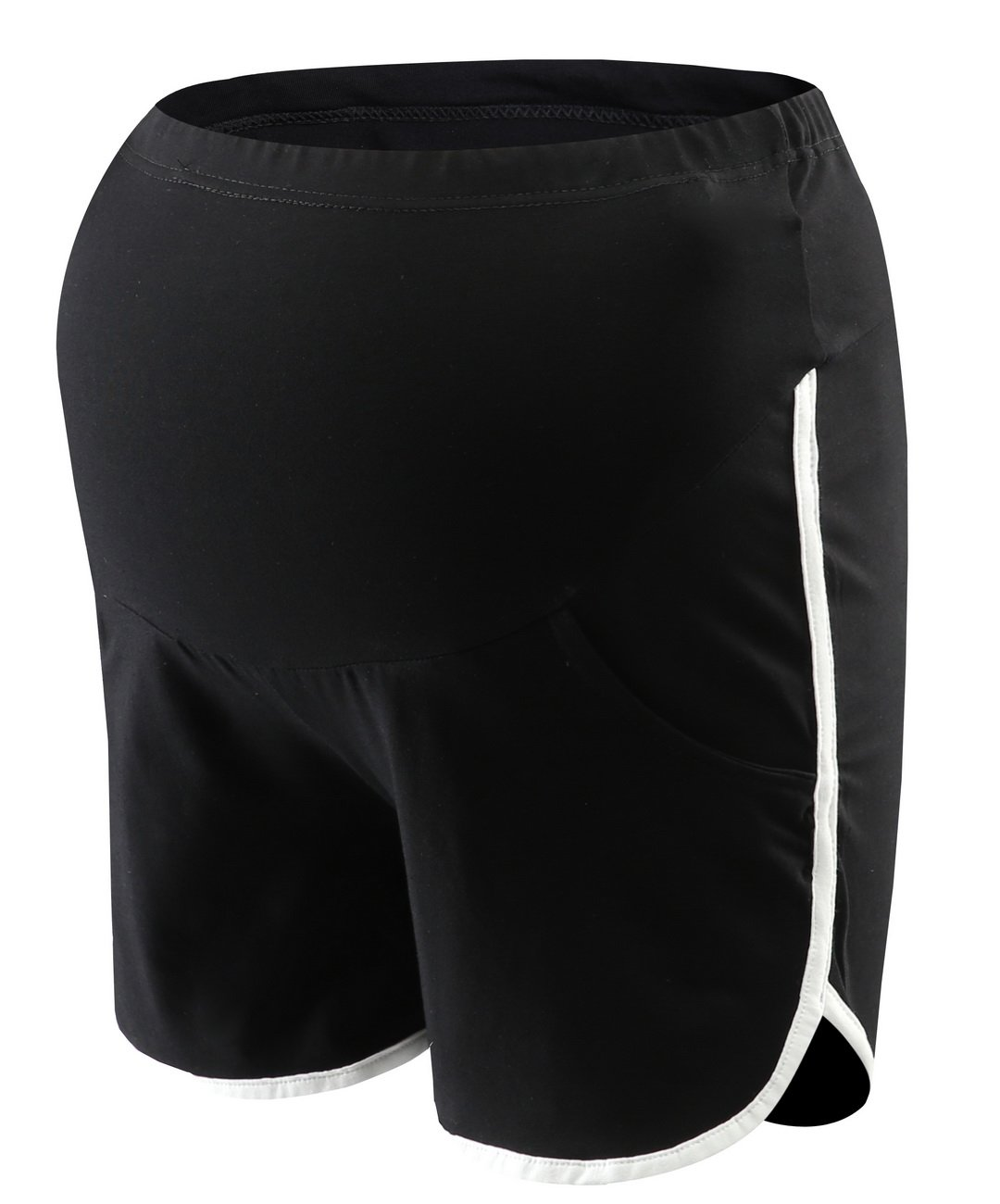 Foucome Women's Elastic High Waist Runner Pants Belly Care Active Lounge Maternity Shorts Beach Shorts Black