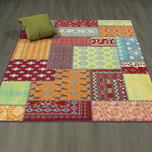 Ottomanson Rainbow Collection Non-Slip Kids Rug Modern Multi Pattern Patchwork Design Area Rug, 5'0