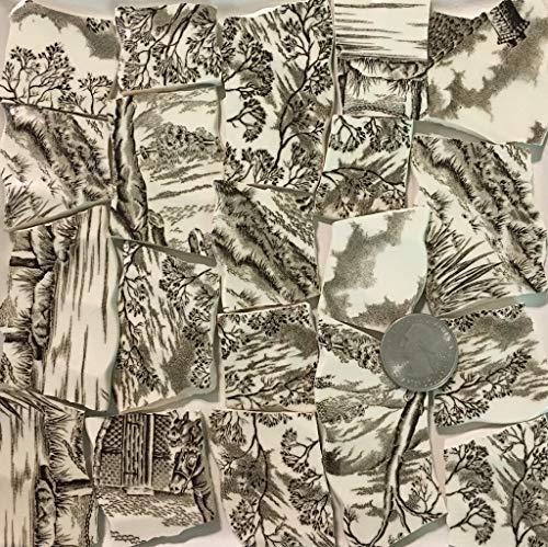 Mosaic Art & Crafts Supply ~ Brown & White Vintage Transferware Rim Tiles (B919)