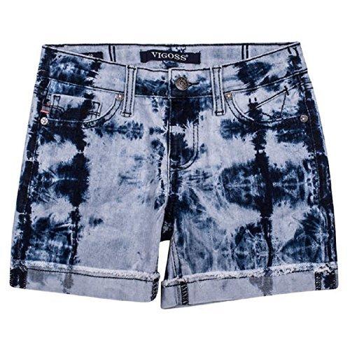 (VIGOSS Big Girls' Stretch Denim Tie Dye Shorts (10, Light wash))