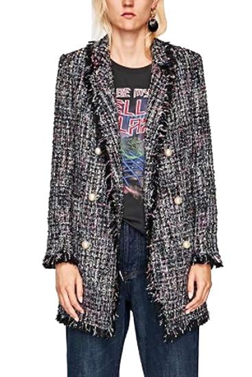 0306f51461b Dazosue Femmes Blazer Tweed À Double Boutonnage Perle Bouton Bordées Veste   Amazon.fr  Vêtements et accessoires