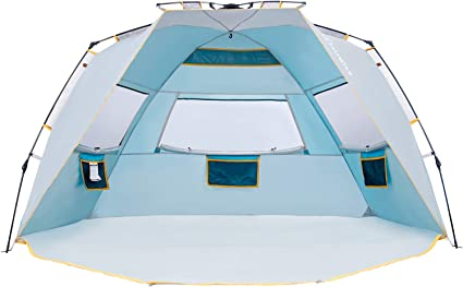 Automatic Beach Tent for 2-3 People Aotlet Beach Shelter with Zip Door and UV Protection Outdoor Portable Pop Up Tent with Carry Bag and Tent Stakes