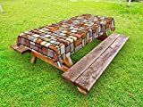 Ambesonne Grunge Outdoor Tablecloth, Cartoon Wall Pattern with Stone Motifs Construction Architecture Inspired Design, Decorative Washable Picnic Table Cloth, 58 X 104 inches, Multicolor