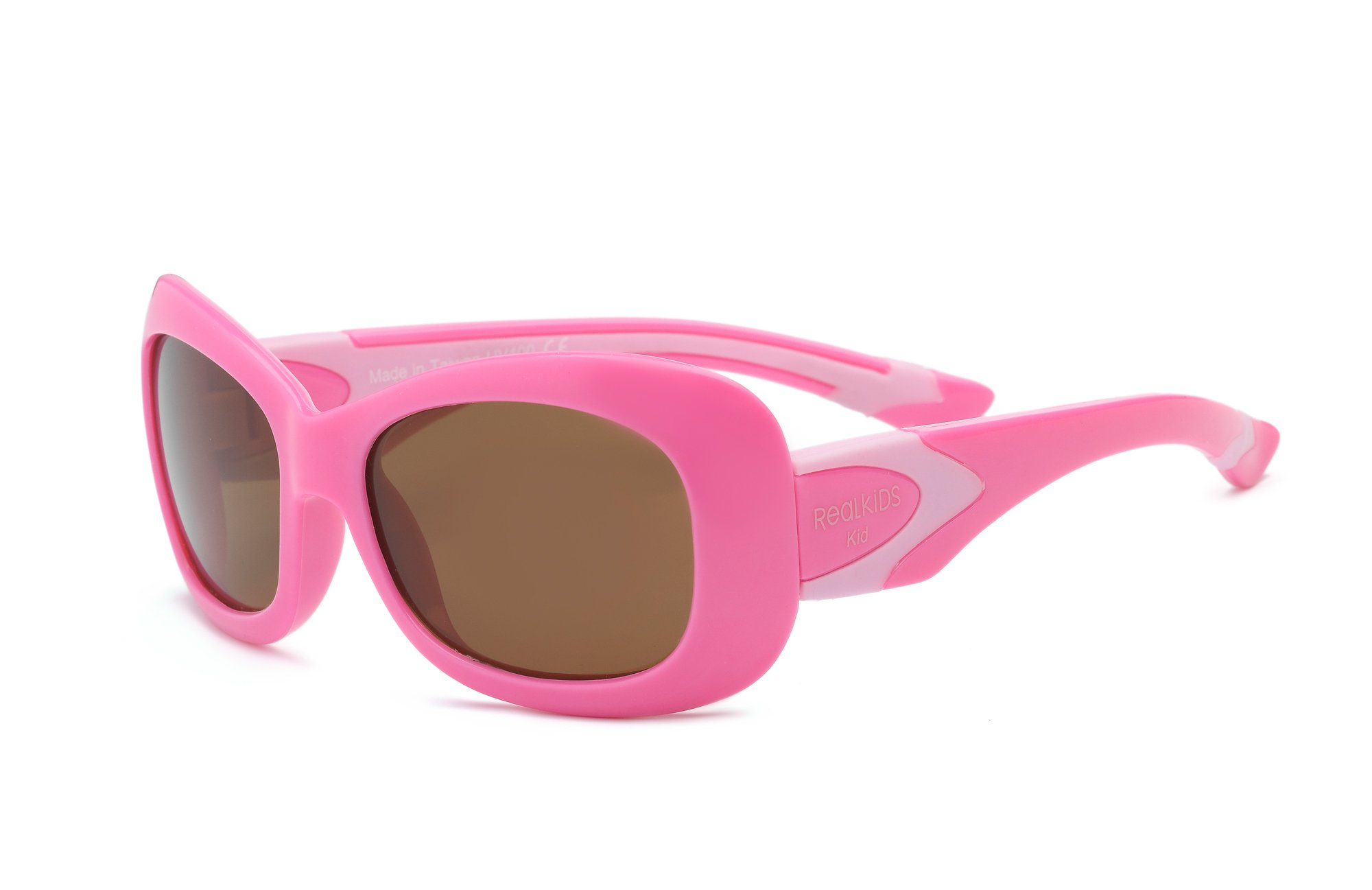 Real Kids Shades Breeze Sunglasses for Kid, Youth - 100% UVA UVB Protection, Polycarbonate Lenses, Unbreakable, Flex Fit, Fashionable Square Frames (Youth 7+, Pink, Polarized)